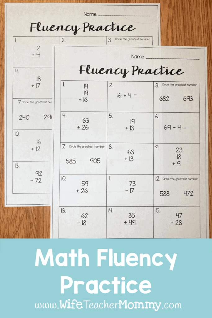 Our Ready to Go  Sub Plan updates include math fluency practice.