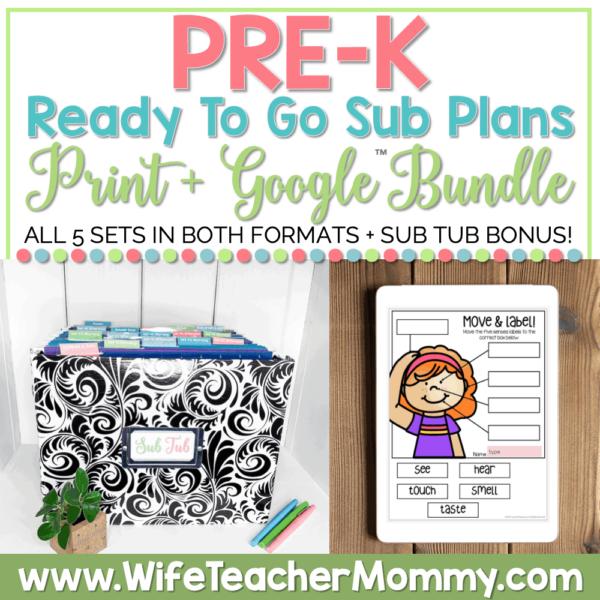 sub tub & Emergency Pre-K & Pre School Sub Plans