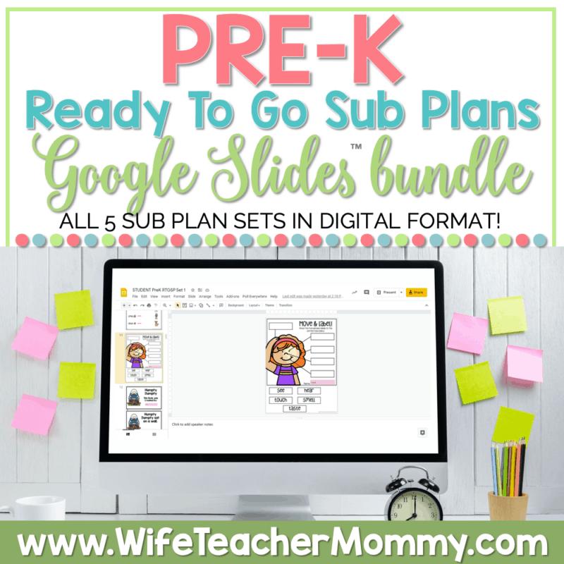 PreK Sub Plans Google Bundle