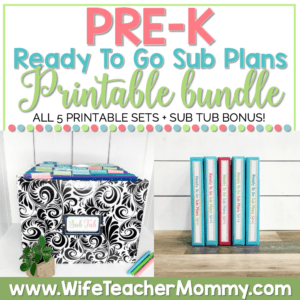 PreK Sub Plans Printable Bundle