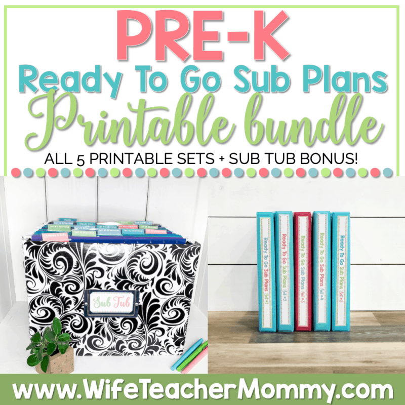 PreK Sub Plans Printable Bundle