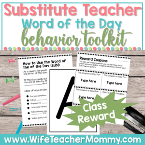 Subsitute Teacher Word of the Day Behavior Toolkit Cover