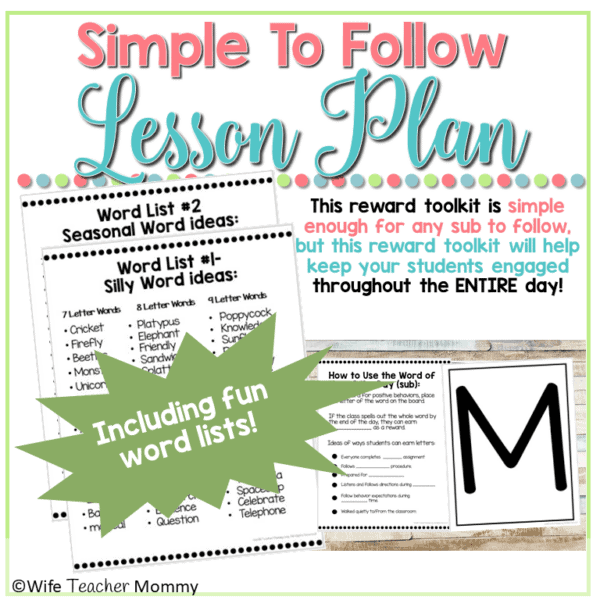 Subsitute Teacher Word of the Day Behavior Toolkit Preview (2)