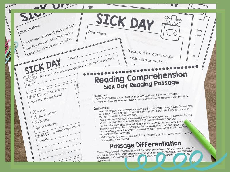 sub plan sick teacher passage