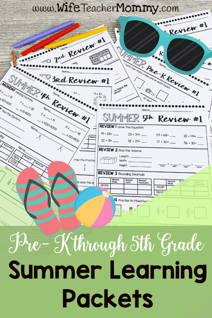 Summer learning math review packets