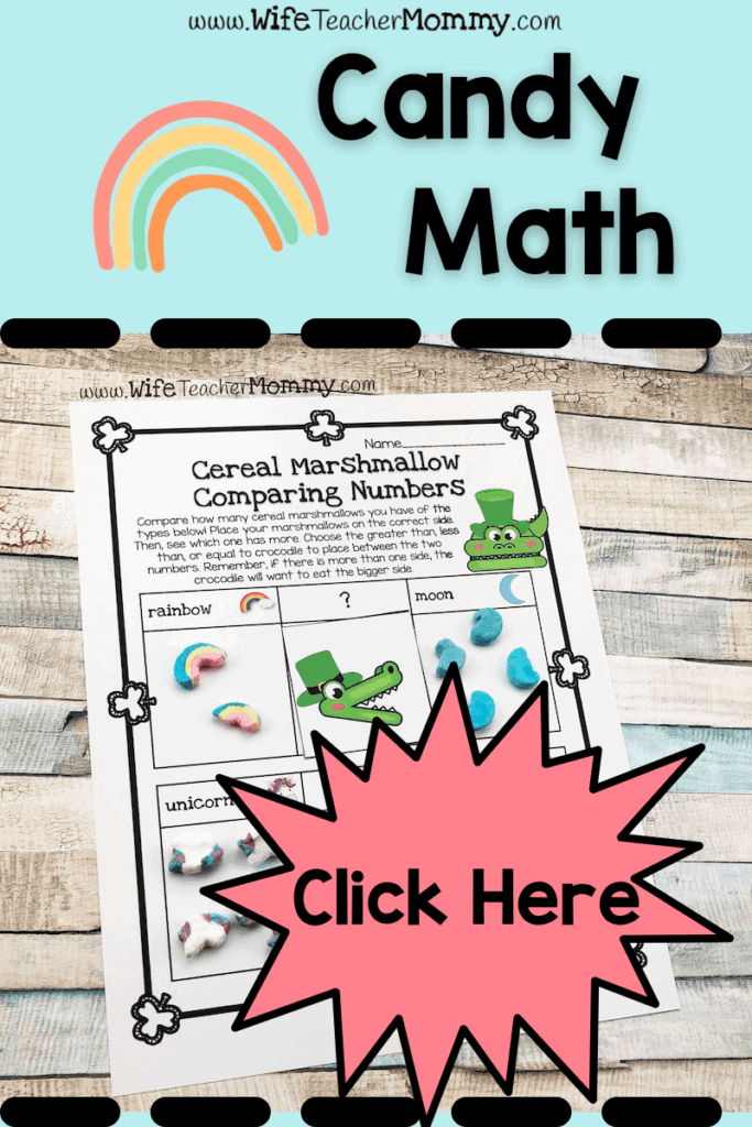 Cereal marshmallow comparing numbers math worksheet