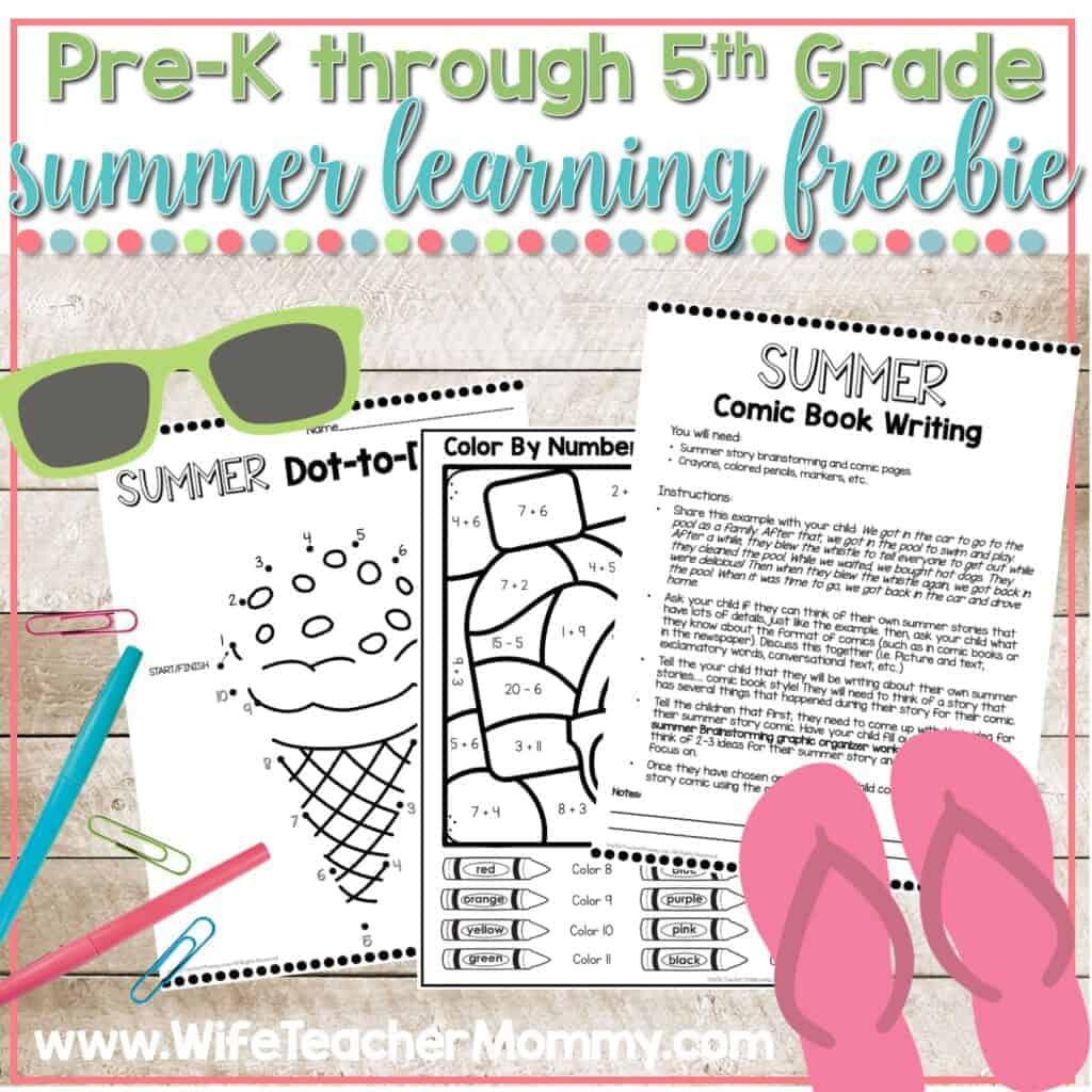 summer learning packet freebie