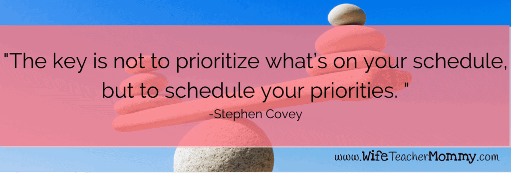 Stephen Covey quote to achieve teacher work/life balance