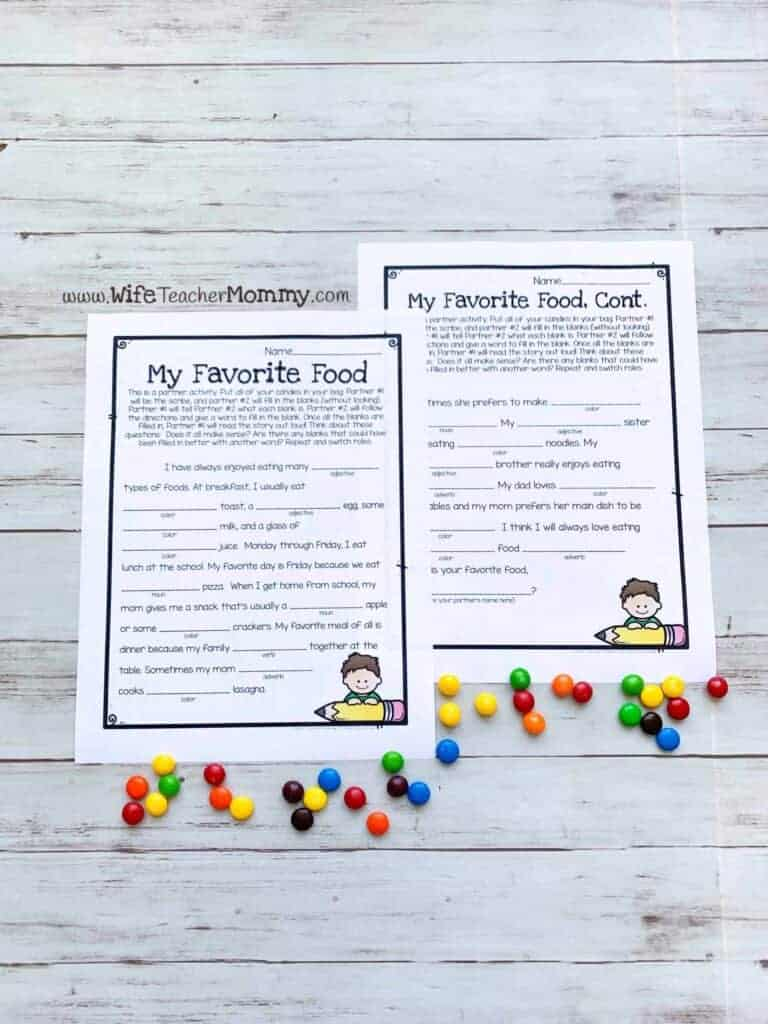 ideas and resources for special education my favorite foods fill-in-the-blanks