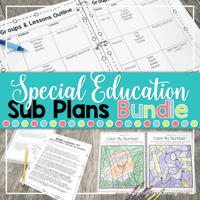 ideas and resources for special education sub plans bundle