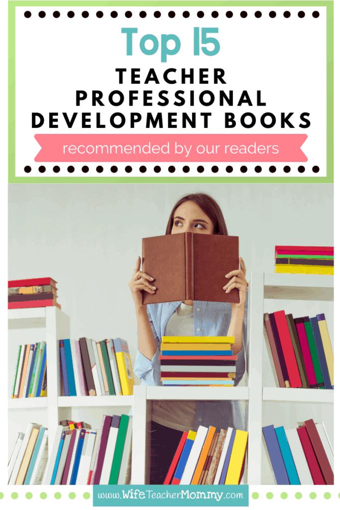 teacher reading stack of teacher professional development books