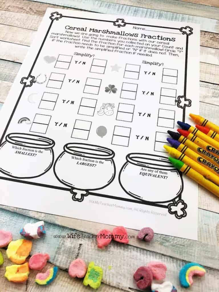 ideas and resources for special education cereal marshmallow fractions