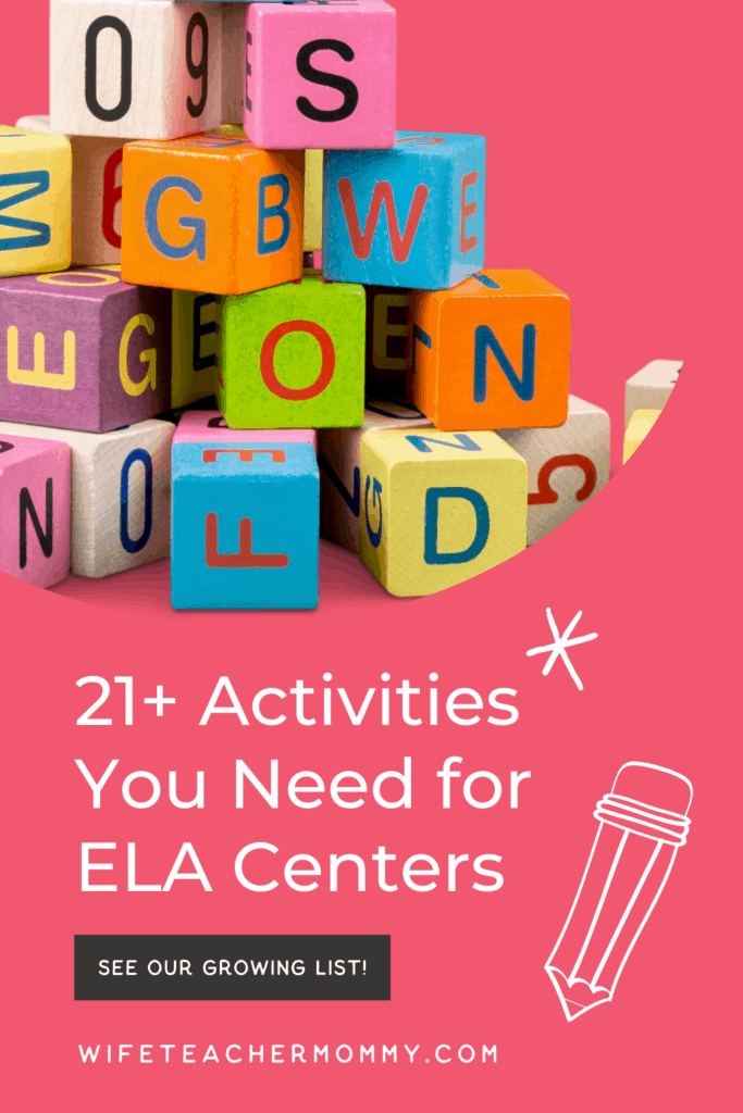 Alphabet blocks for ELA centers activities