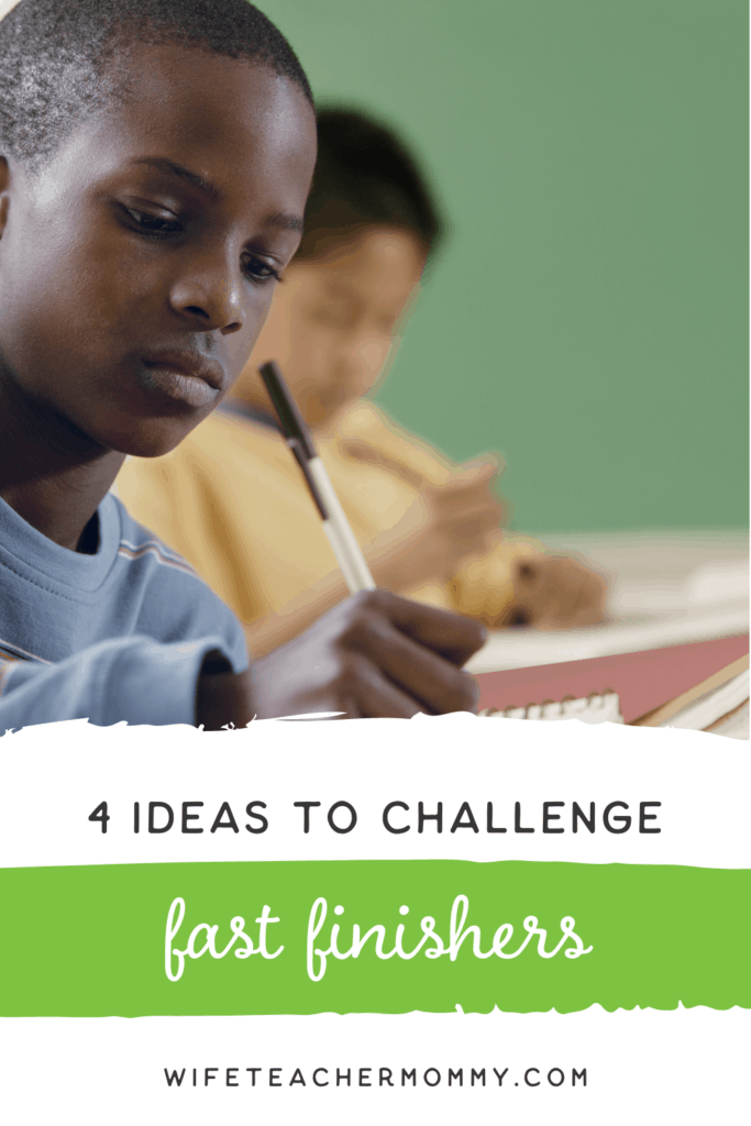 Boy writing- ideas for fast finishers