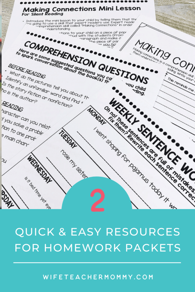 reading comprehension worksheets for quick & easy resources for homework packets
