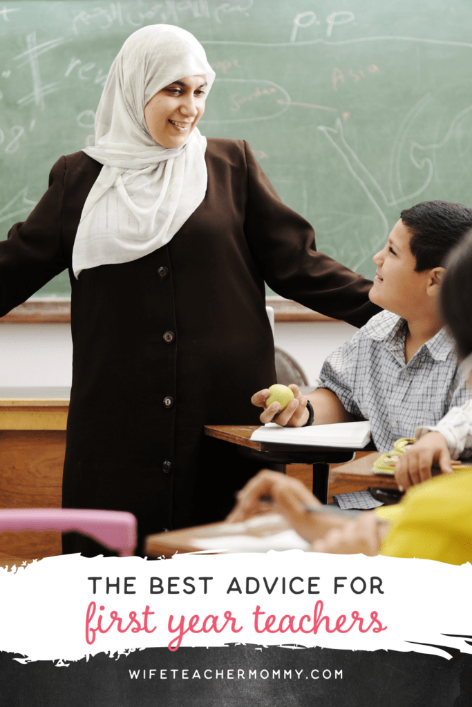 Teacher in a head scarf with students. The writing says the best advice for first-year teachers.