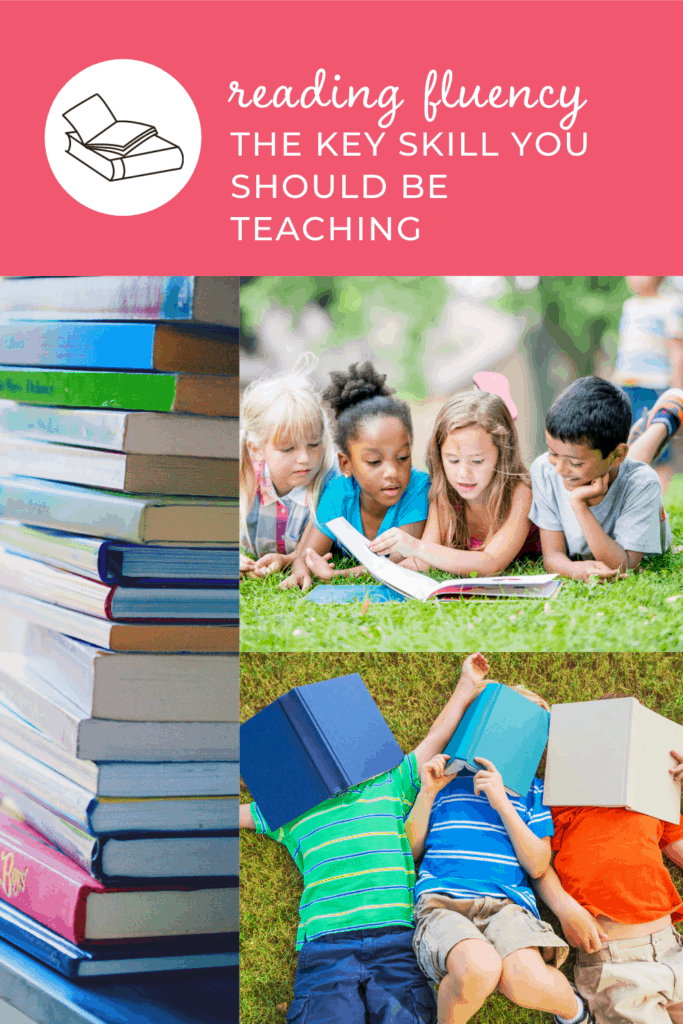 stack of books, kids reading together, reading fluency the key skill you should be teaching